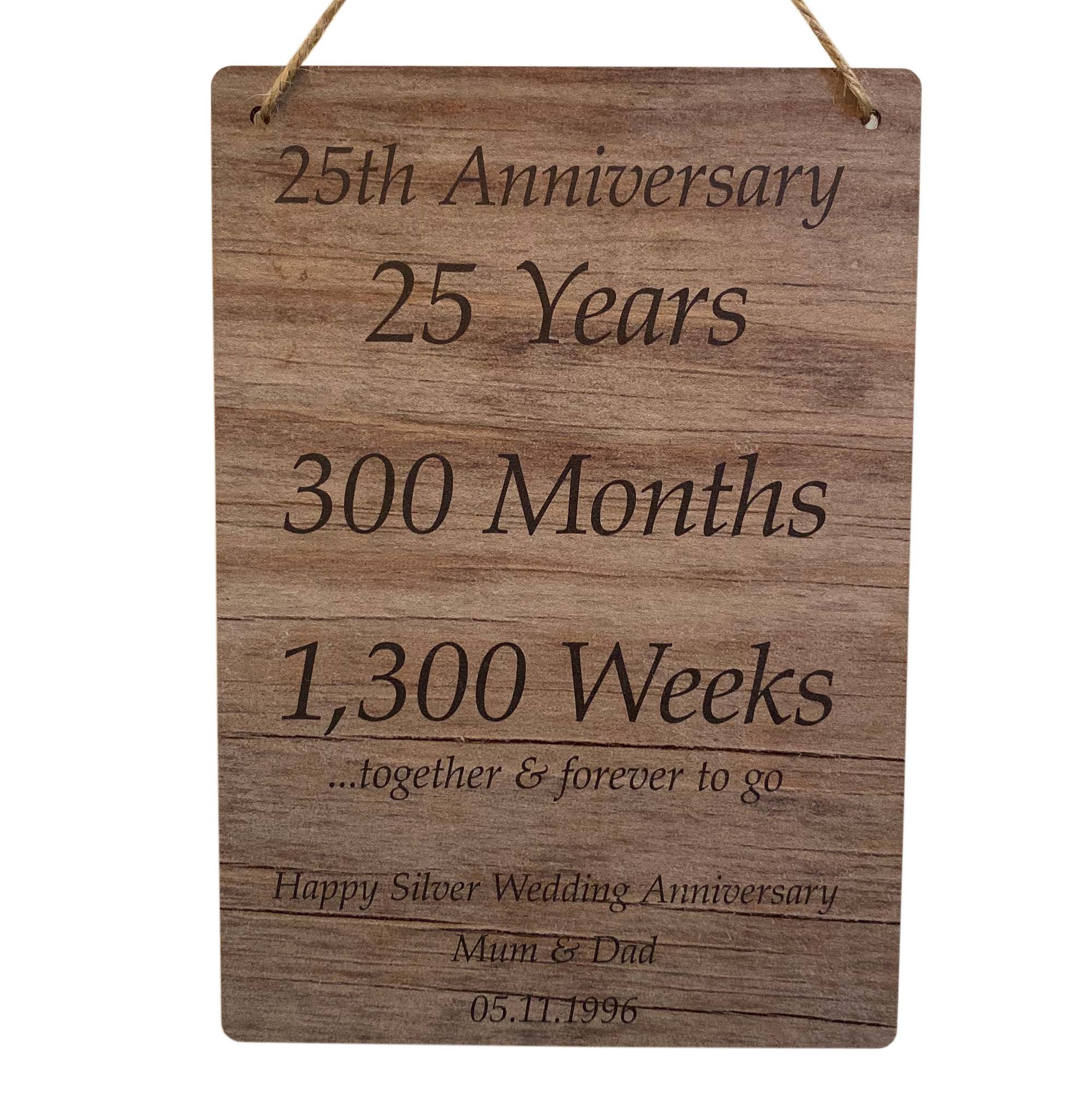 25th Silver Wedding Anniversary Gift Personalised Couples