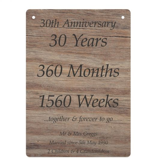 30th Anniversary Gift Personalised Pearl Wedding Present Happy Anniversary Little Shop Of Wishes