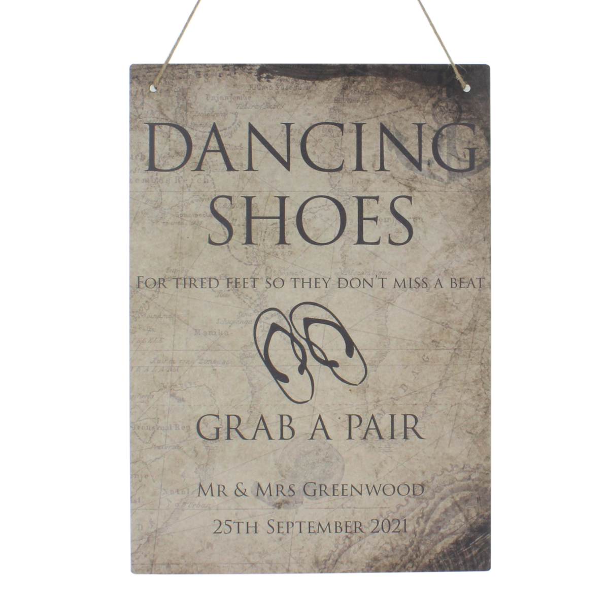 8a2016473 Personalised Dancing Shoes for Tired Feet Wedding Flip Flop Sign ...