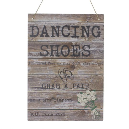 81cfe8dfc Dancing Shoes Flip Flop Wedding Sign for Tired Feet Personalised ...