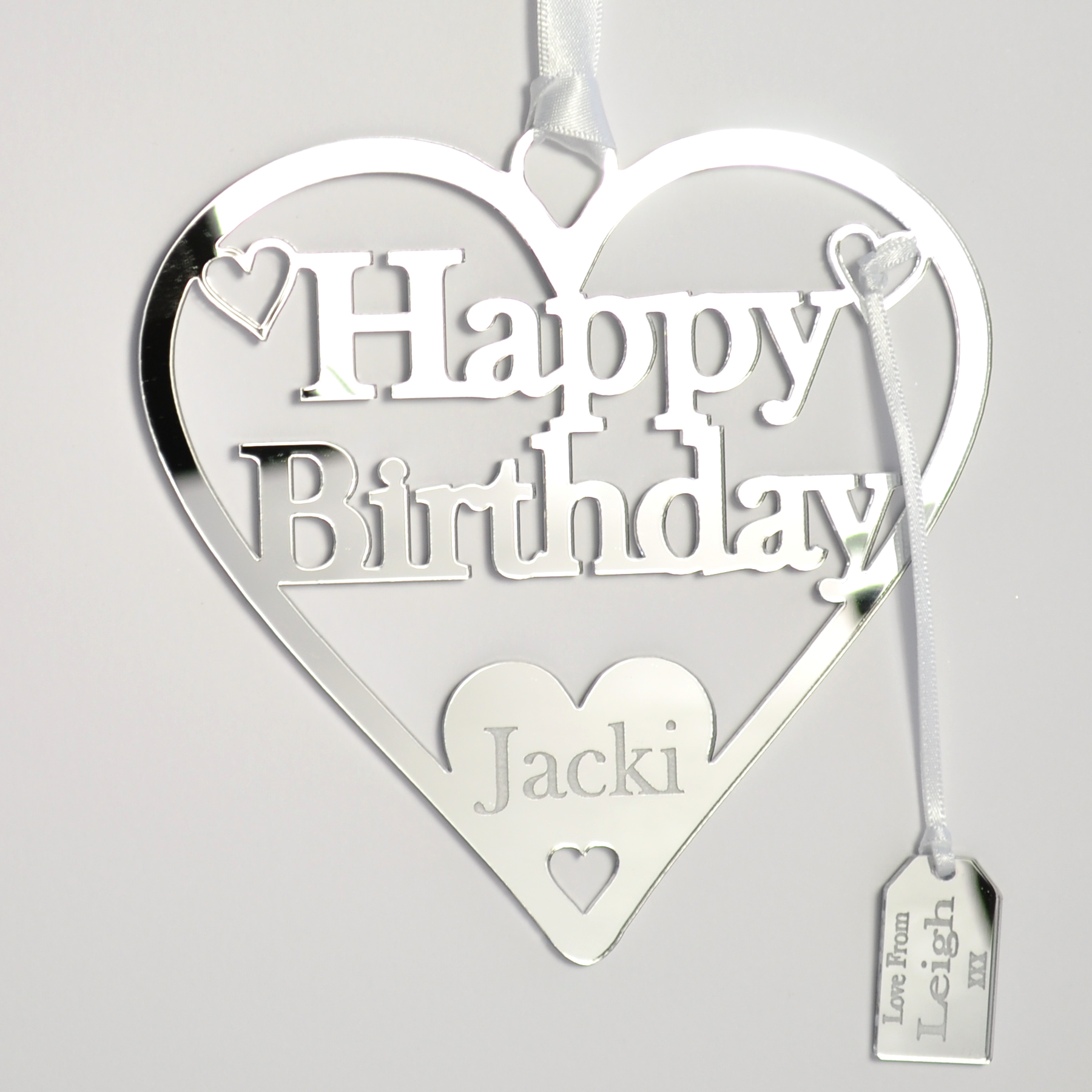 Personalised Happy Birthday Heart Mirror Acrylic Silver Little Shop Of Wishes