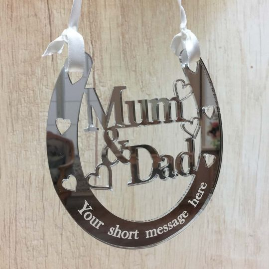 25th Wedding Anniversary Gifts.Personalised Mum Dad Lucky Horseshoe Bridal 25th Wedding Anniversary Gift Silver