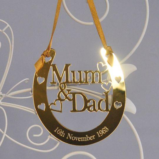 personalised mum dad lucky horseshoe bridal 50th golden wedding