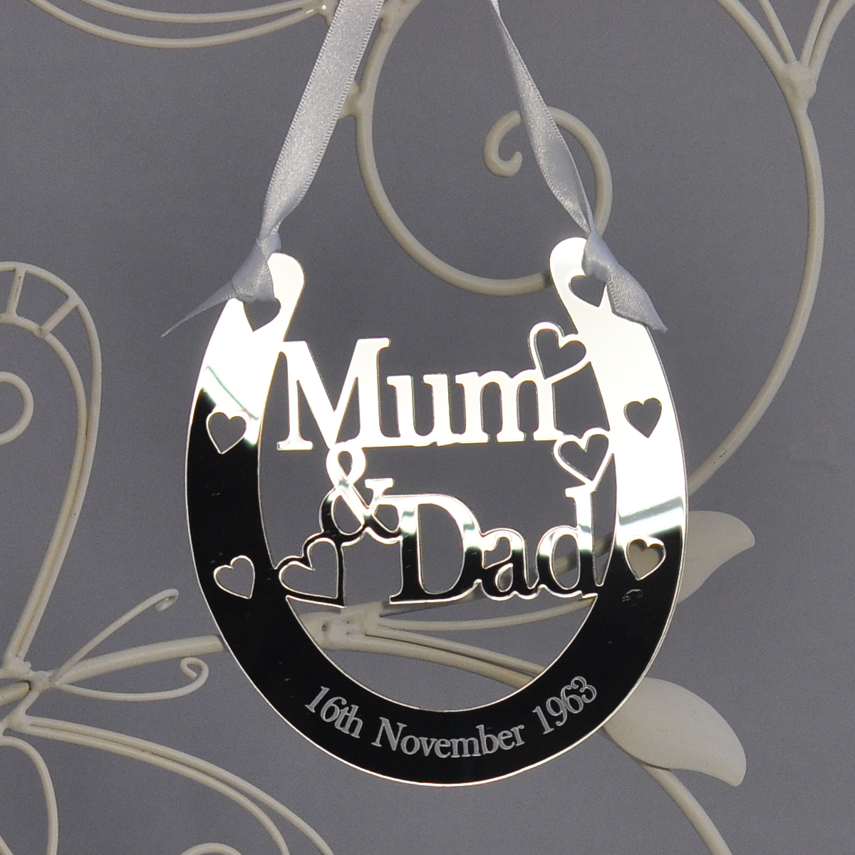 Horseshoe Wedding Gift: Personalised Mum & Dad Lucky Horseshoe Bridal 25th Wedding
