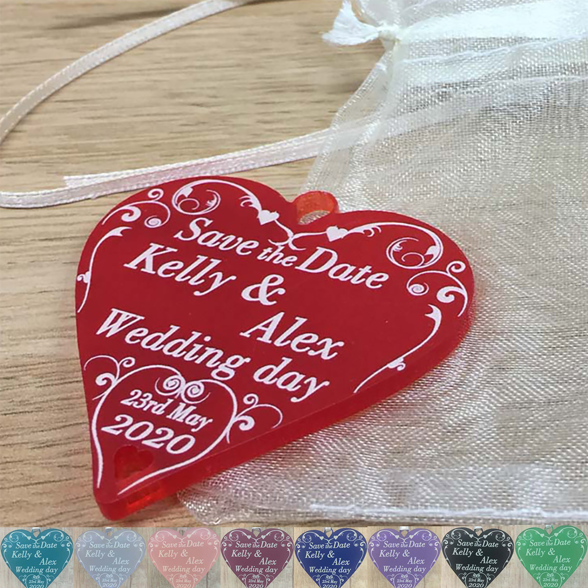Save the Dates Wedding Hearts Personalised 5cm Swirl Love Heart + ...