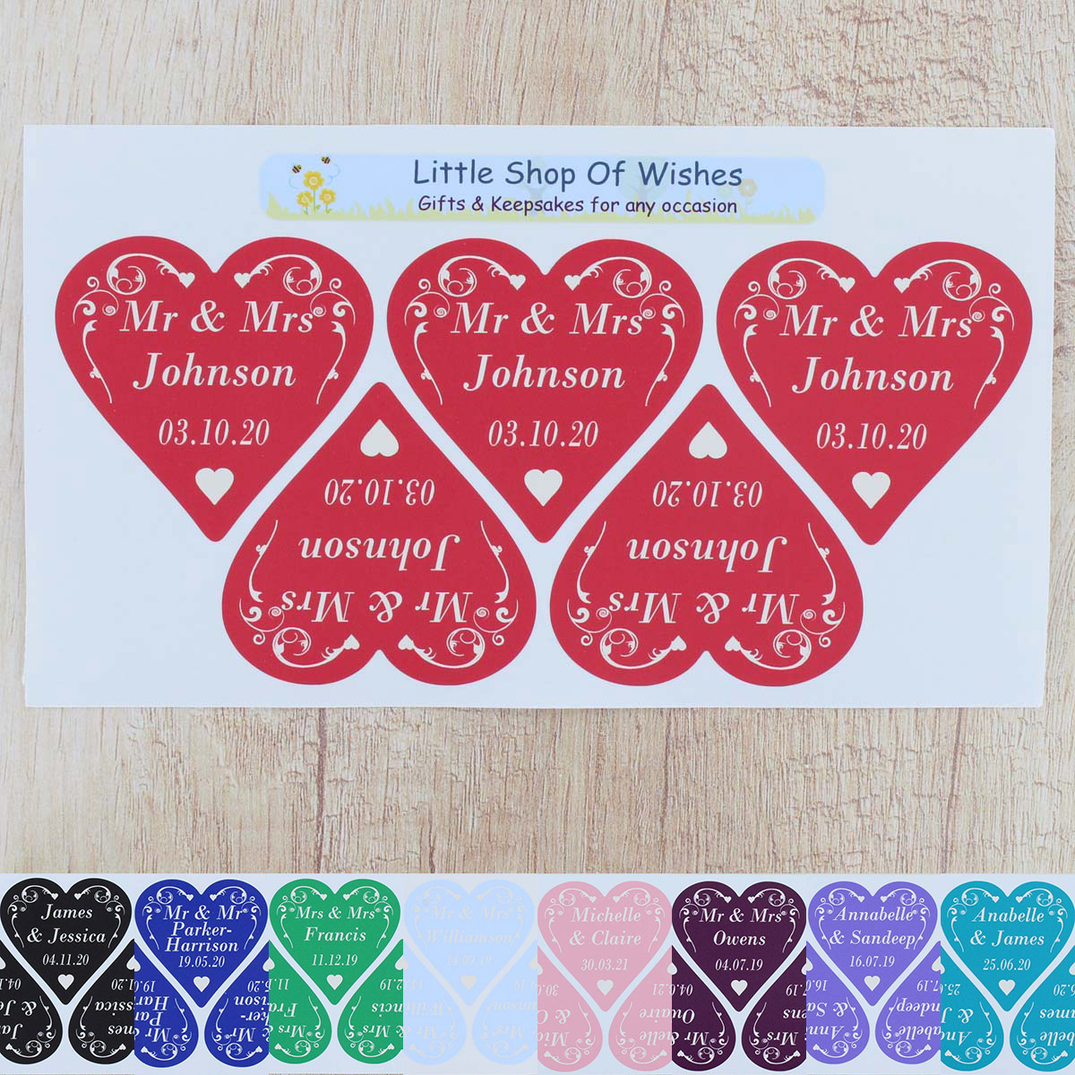 Wedding Stickers Vinyl Hearts Personalised ANY TEXT Swirl Love Heart ...