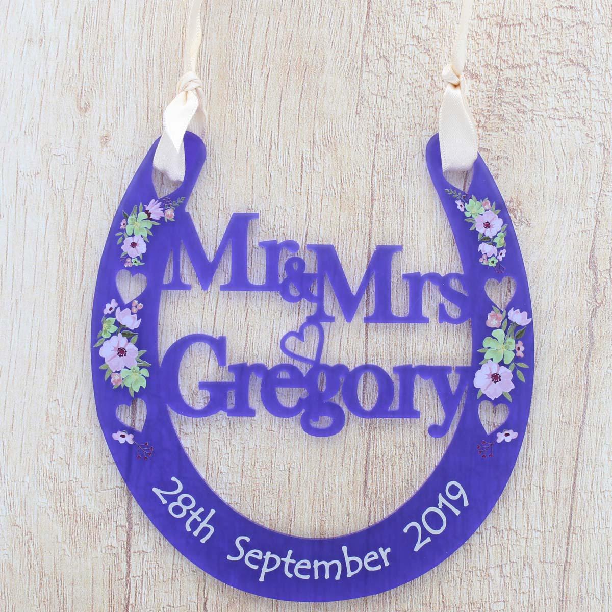 Personalised Wedding Gift Horseshoe alternative Mr /& Mrs Bridal Good Luck Heart