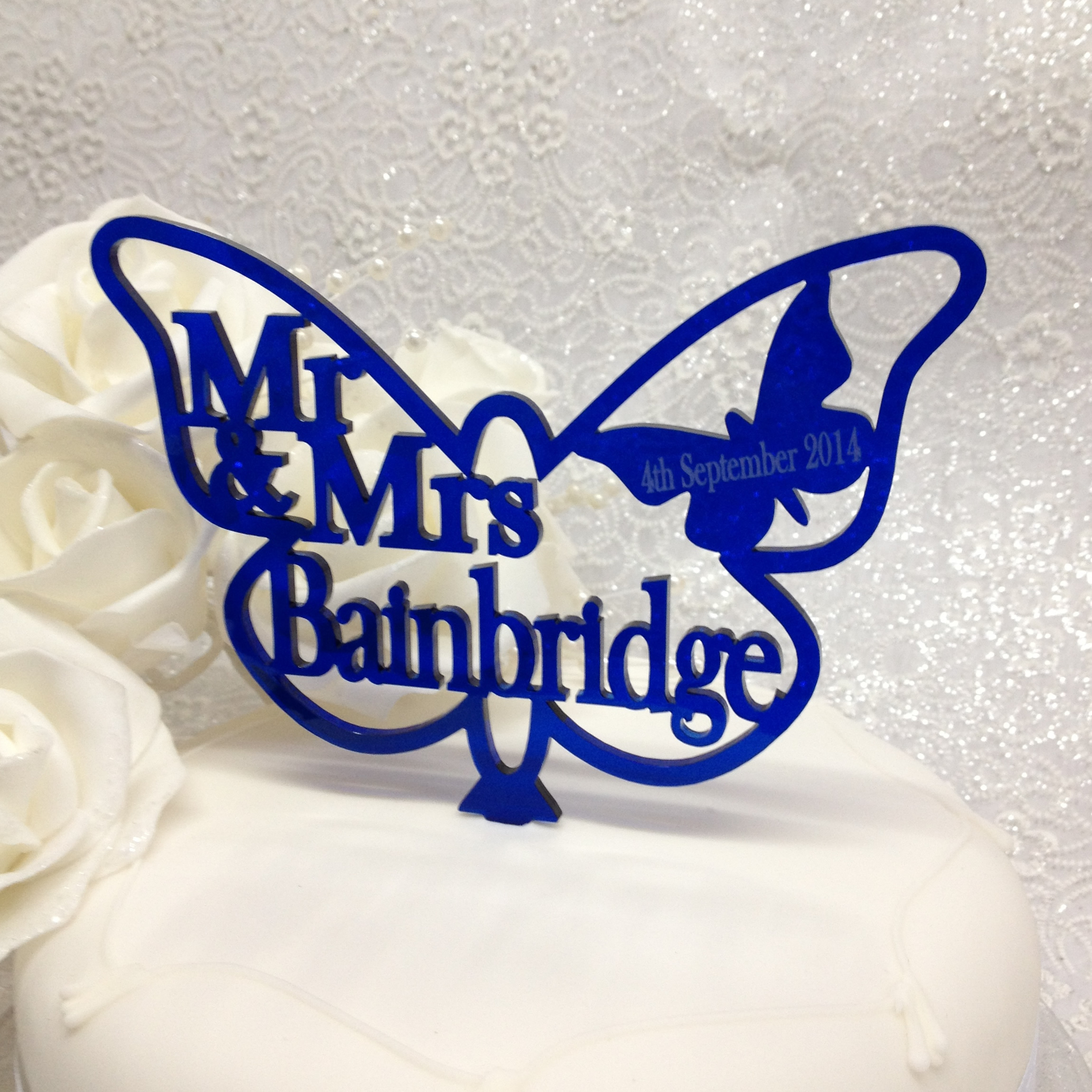 Personalised Mr & Mrs Butterfly Cake Topper Trans Acrylic