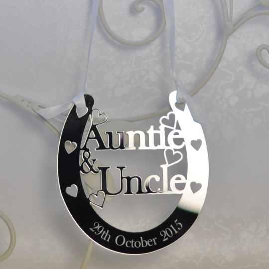 Personalised Auntie Uncle Good Luck Horseshoe Bridal Wedding Anniversary Gift Silver