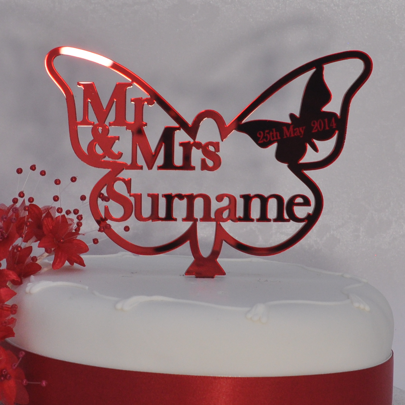 Personalised Wedding Mr Amp Mrs Butterfly Cake Topper Ruby Anniversary Red Little Shop Of Wishes