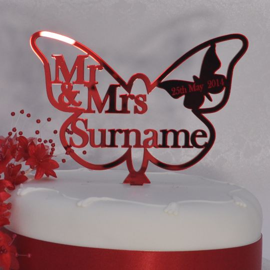 Personalised Wedding Mr Mrs Butterfly Cake Topper Ruby - Ruby Wedding Cake Toppers