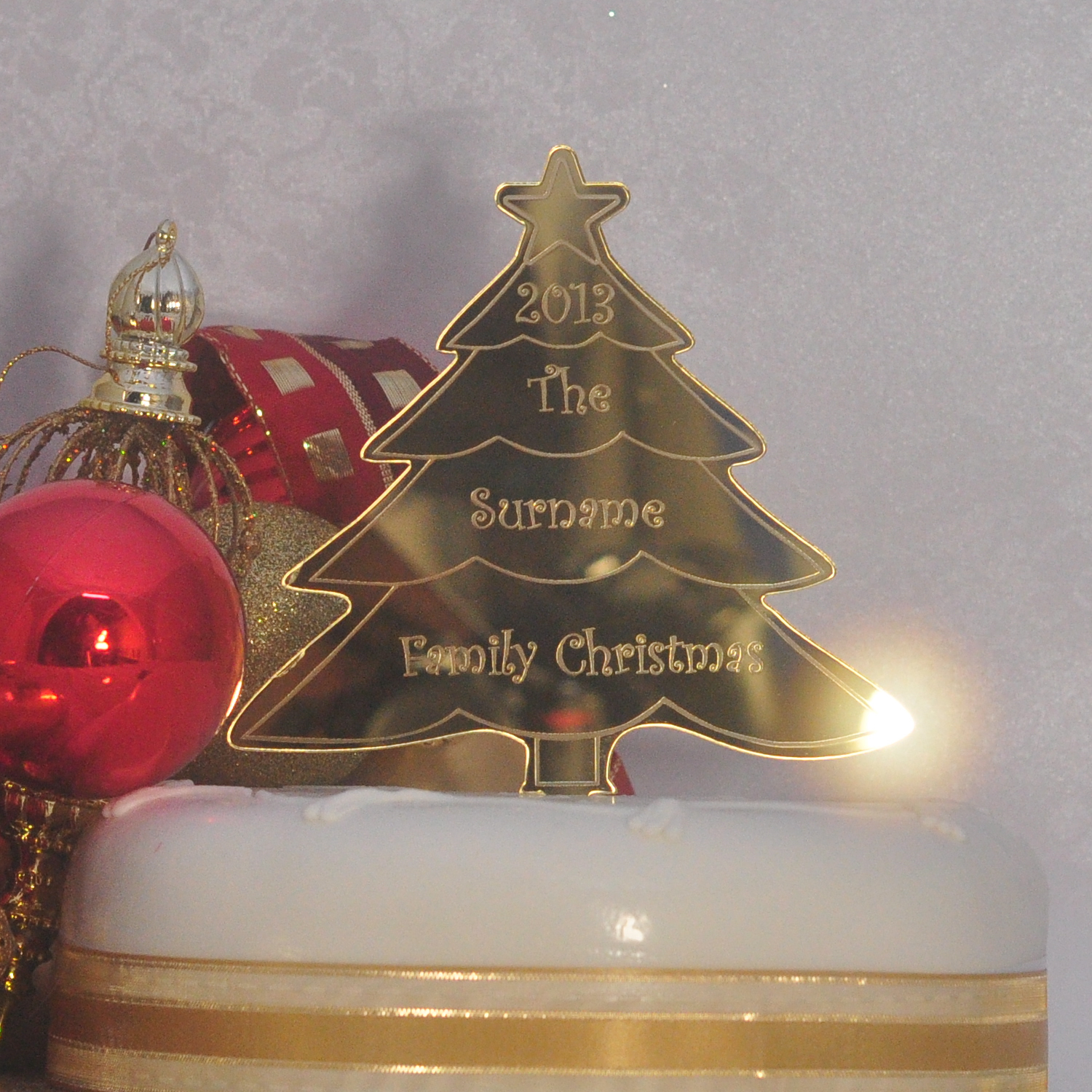 Personalised Family Christmas Tree Cake Topper Any name