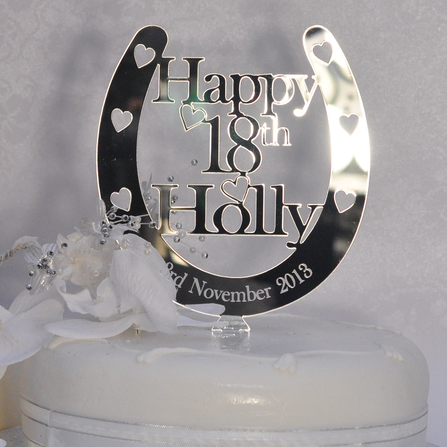 Birthday Horseshoe Cake Topper Personalised ANY NAME AGE