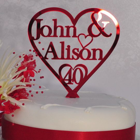 40th Ruby Wedding Anniversary Cake Topper Personalised Names Heart