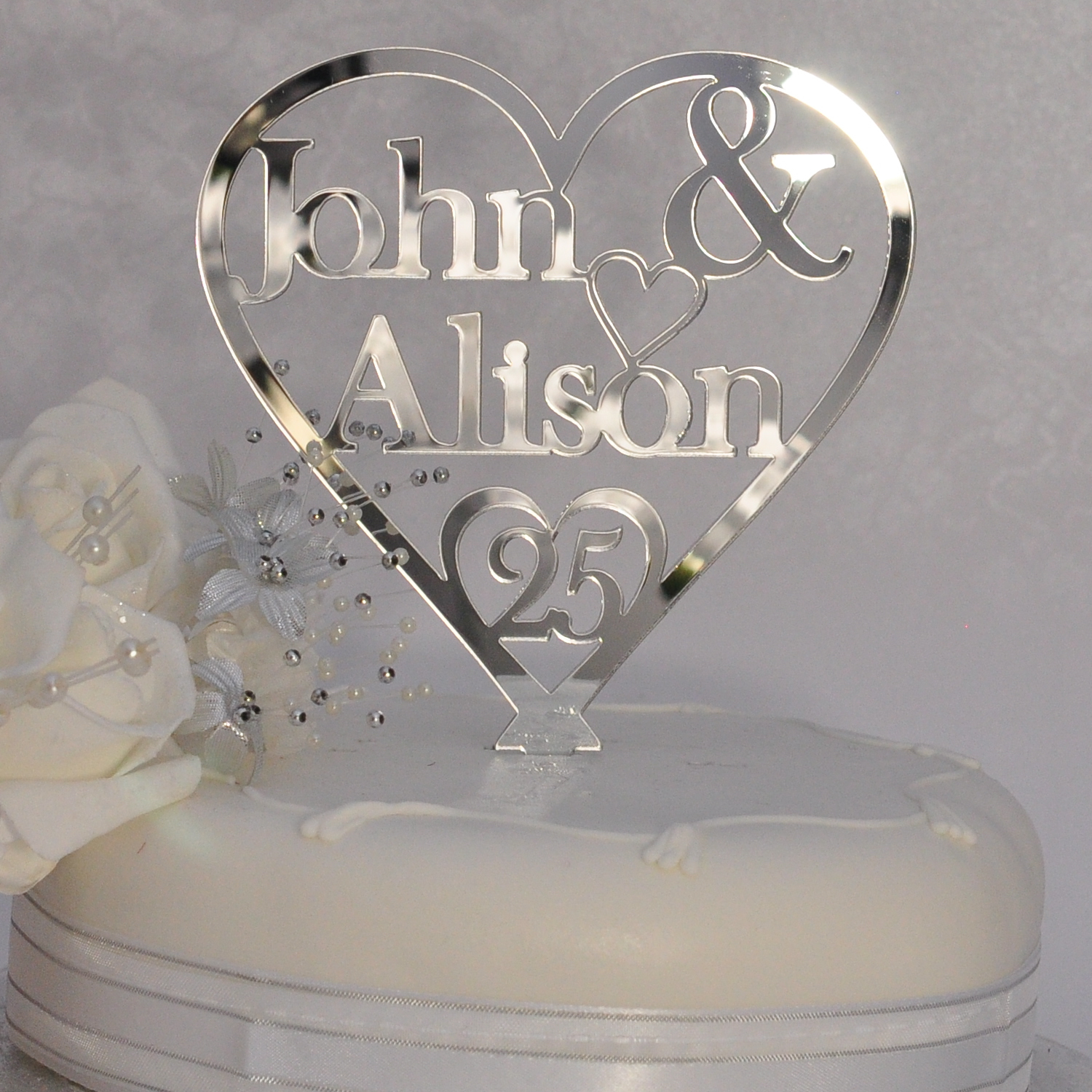 Personalised Anniversary Cake Images : 25th Silver Wedding Anniversary Personalised Names Heart ...