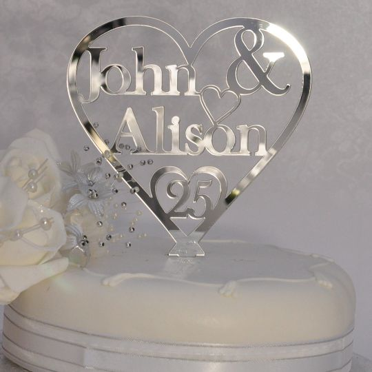 25th Silver Wedding Anniversary Personalised Names Heart Cake Topper