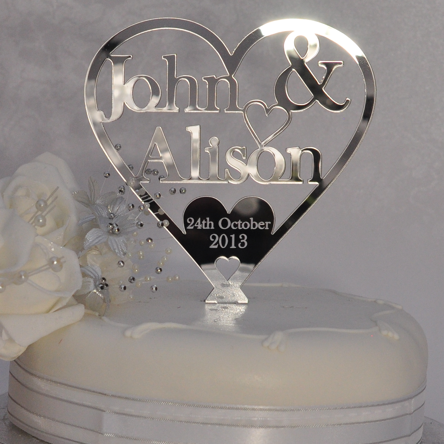 Wedding Or Anniversary Heart Cake Topper Personalised With