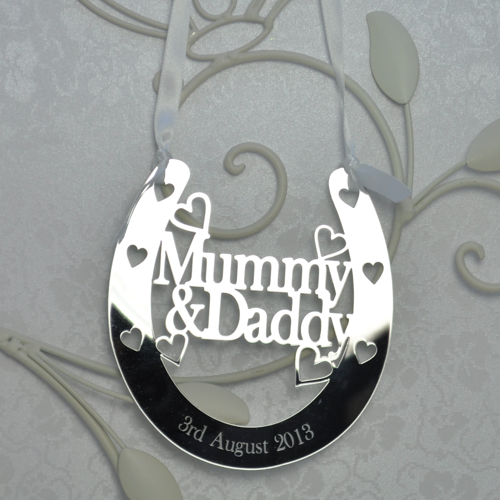 Horseshoe Wedding Gift: Personalised Mummy & Daddy Good Luck Horseshoe Bridal