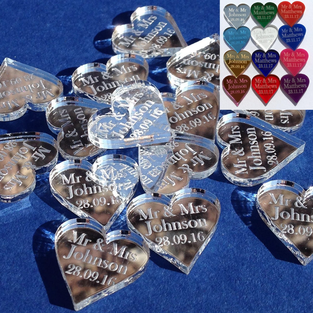 Wedding Favours Personalised Mr Amp Mrs 2cm Love Heart Table