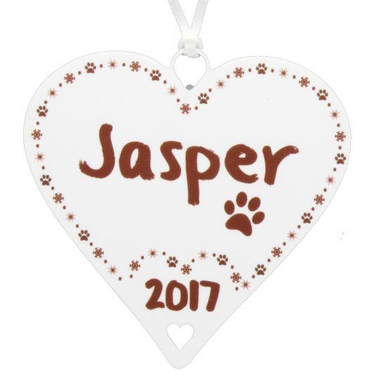 pets name christmas heart bauble paw print xmas decoration family gift - Christmas Pet Names