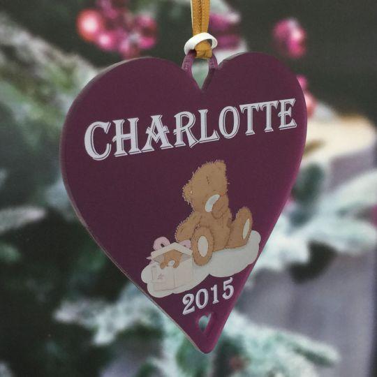 Christmas Christening.Personalised Teddy Gift Personalised Baby Name Christmas Christening Decoration Keepsake 10 Colour