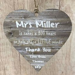Clear Acrylic 10cm Heart Personalised Teacher Thank You Gift End of Year Floral Keepsake Decoration ANY TEACHER /& CHILD NAME LittleShopOfWishes