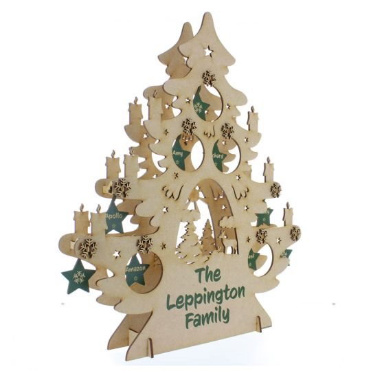 3d Christmas Tree.Personalised Family Christmas Decoration Wooden Tree 3d Freestanding Ornament With Surname Names