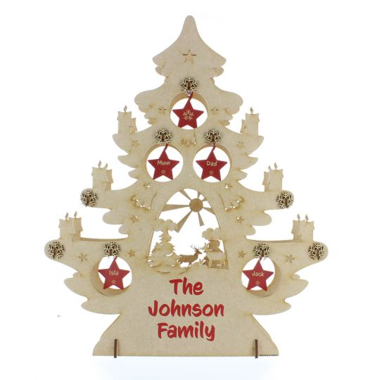 Personalised Family Christmas Decoration Wooden Tree 3d Freestanding Ornament With Surname Names