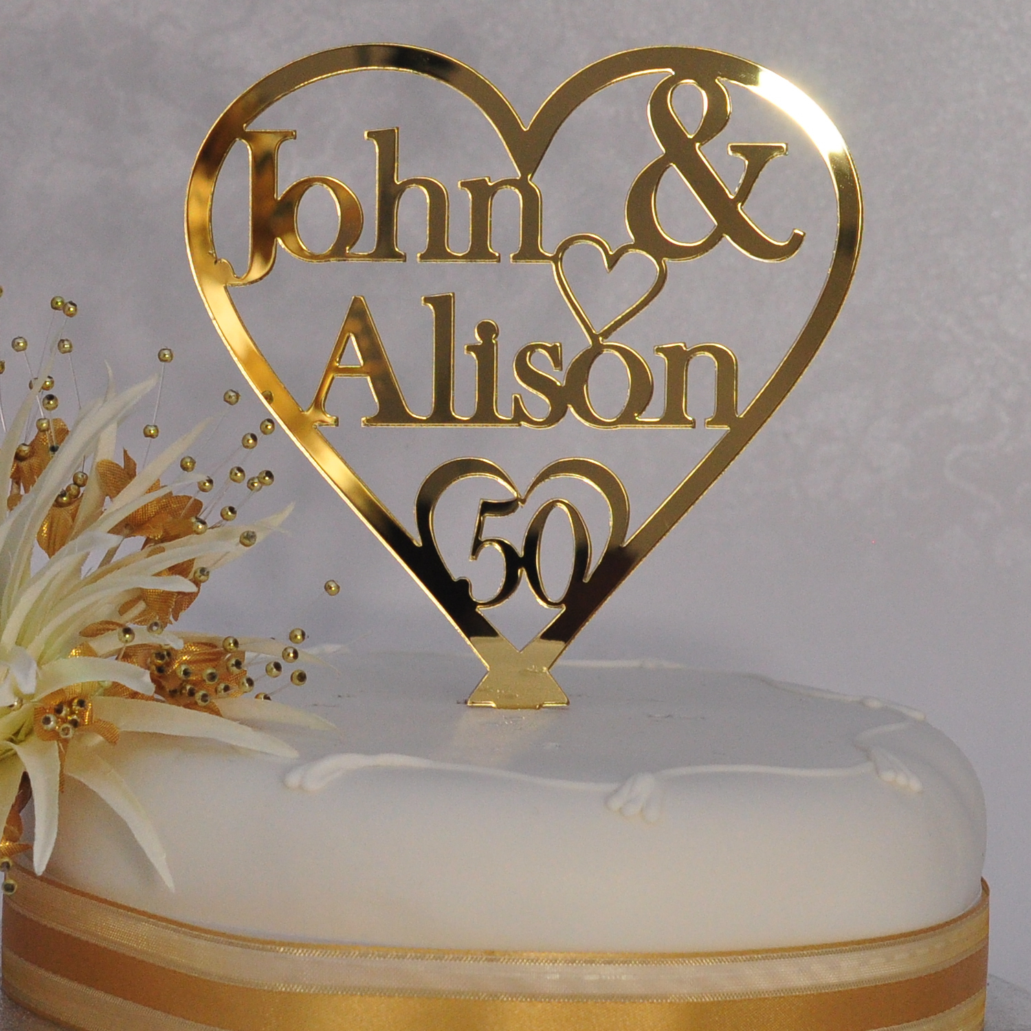 wedding cake toppers for 50th anniversary 50th golden wedding anniversary personalised names 26468